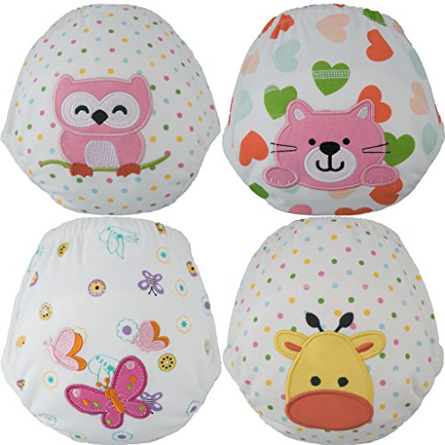 Toddler Potty Training Pants / Underwear - Water-Resistent| 3 Absorbent Layers| Best Quality| Soft Cotton | Machine Washable | Cute Designs For Your Baby | (Girls Medium-Owl/Cat/Butterfly/Giraffe)