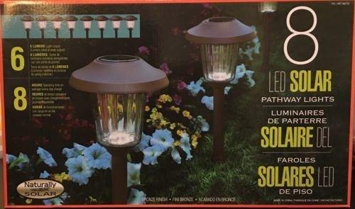 New Naturally Solar 8 Piece LED Solar Pathway Lights Set Bronze Finish 6 Lumens