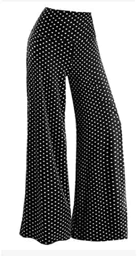 2ba8a4e7ef Fanteecy Womens Casual High Waist Stretchy Wide Leg Palazzo Lounge Pants  Stretch Long Trousers