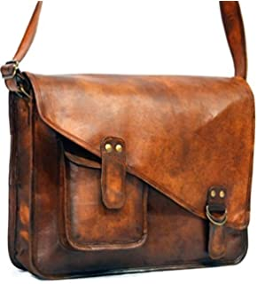 16 Inches Distressed Leather Satchel/messenger Bag for Men/women ...