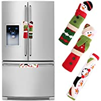 OurWarm Christmas Snowman Refrigerator Handle Covers Set of 3, Kitchen Appliance Handle Covers Christmas Decoration for Home