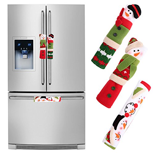 Aparty4u Snowman Refrigerator Handle covers Set of 3, Christmas Kitchen Appliance Handle Covers for Christmas Home -