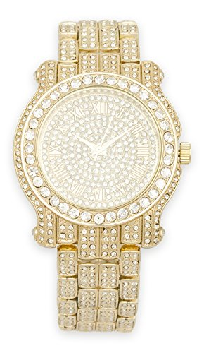 Men's Iced Out Watch (Gold) with Simulated Cubic Zirconia Crystals