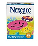 Nexcare Tattoo Waterproof Bandages, 20 Bandages Per Box One-Size, Cool Collection (4 Boxes)