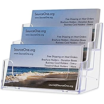 Amazon marketing holders 3 pocket freestanding business card sourceone 3 pocket premium clear acrylic business card holder xdeep3pclrbc reheart Images