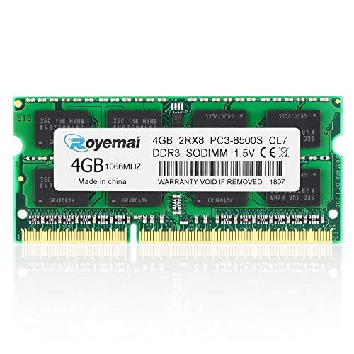 ROYEMAI PC3-8500 DDR3,4GB DDR3 PC3-8500 2RX8 PC3 8500s 1066MHZ PC3-8500 DDR3 sodimm 1.5v CL7 DDR3 Ram 4GB DDR3 Ram ddr3 pc3-8500 Notebook Memory Module Laptop RAM Chips for Intel AMD ()