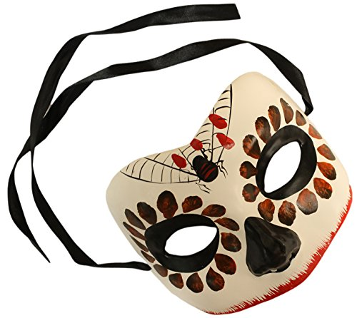 Day of the Dead Sugar Skull Unisex Plaster Hand Painted Mask (Mexican Day Of The Dead Mask)