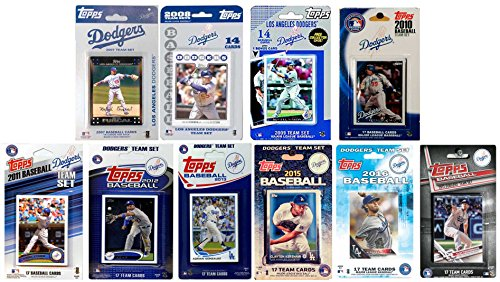 C&I Collectables MLB Los Angeles Dodgers Men's 10 Different Licensed Trading Card Team Sets, White from C&I Collectables