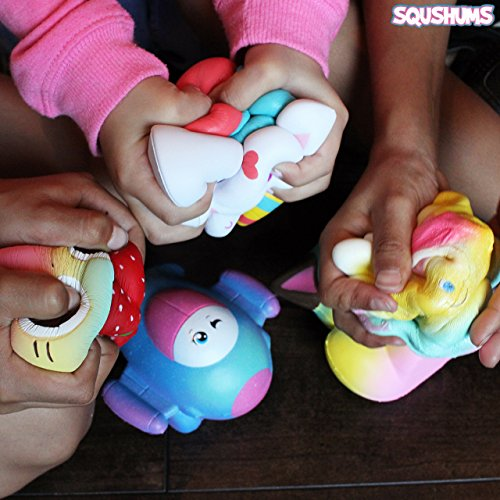 The Original Squishies By Squshums Super Slow Rising, Fruit Scented Jumbo Squishys : 1 Pc Blind Bag : Collect All 5 : Unicorn, Airplane, Heart Cat, Strawberry Cake & Elephant : FREE Carrying Case! Photo #5