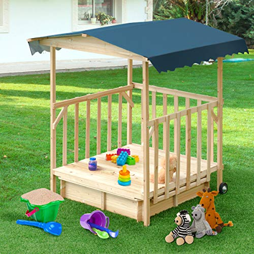 Costzon Kids Retractable Playhouse w/ Sandbox Canopy, Non-Woven Fabric Cloth, Wood Frame Play Area, Two Wheels, Children Outdoor Beach Cabana Sandbox for Outdoor, Lawn, Courtyard (52-Inch, Aquamarine) by Costzon (Image #3)