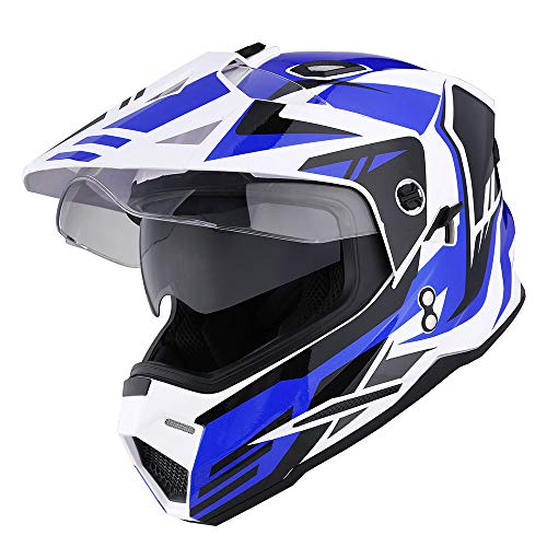 1Storm Dual Sport Motorcycle Motocross Off Road Full Face Helmet Dual Visor Storm Force Blue, Size Medium