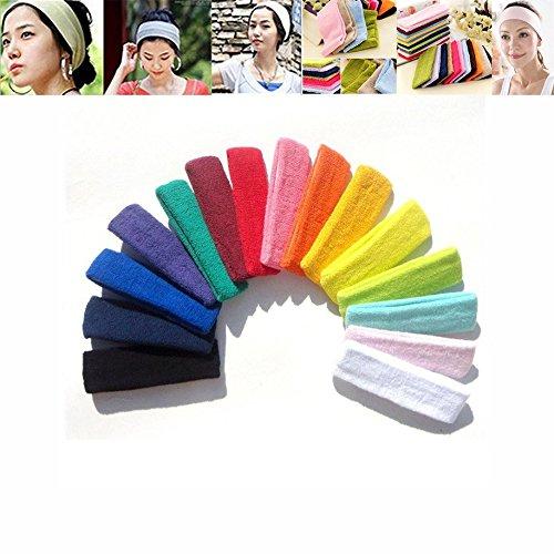 Bleiou 10pcs/lot 10 color Women Men Sports Headband Hair band Stretchy Sweatbands Yoga Gym Hair Head Band For Ladies Gift