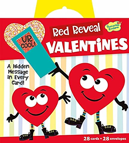 Peaceable Kingdom Red Reveal Happy Riddle Super Valentine Card Pack (Exchange Valentines For Kids)