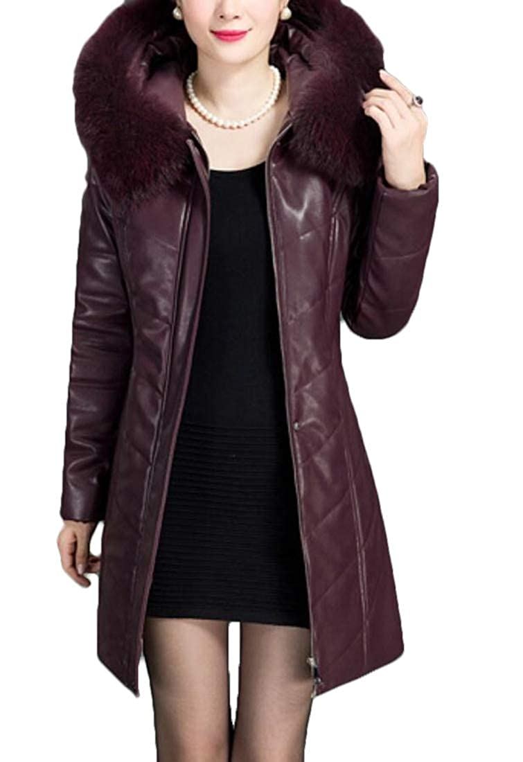 1 Alion Womens Casual Thick Hooded Down Jacket Coat Winter Warm Faux Fur Slim Fit Long Overcoat