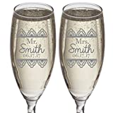 Set of 2 Personalized Wedding Gift-Champagne Flutes- Lace Design – Engraved Flutes for Bride and Groom-Gift-Customized Champagne Glasses-Wedding Gift-Etched Champagne Glasses Review
