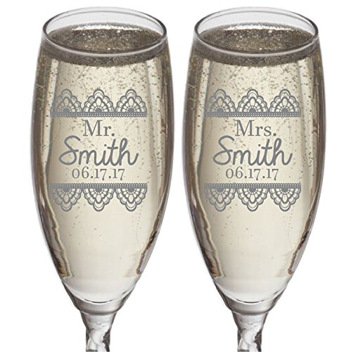 Set of 2 Personalized Wedding Gift-Champagne Flutes- Lace Design - Engraved Flutes for Bride and Groom-Gift-Customized Champagne Glasses-Wedding Gift-Etched Champagne Glasses