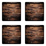 Ambesonne Chocolate Coaster Set of Four, Rough Dark Timber Texture Image Rustic Country Theme Hardwood Carpentry, Square Hardboard Gloss Coasters for Drinks, Brown Dark Brown