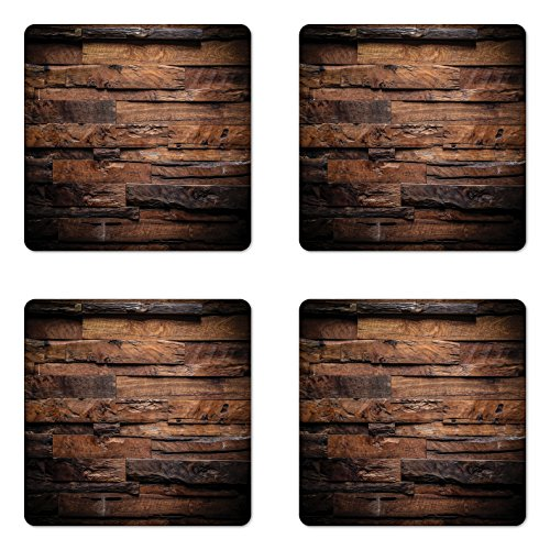 Ambesonne Chocolate Coaster Set of Four, Rough Dark Timber Texture Image Rustic Country Theme Hardwood Carpentry, Square Hardboard Gloss Coasters for Drinks, Brown Dark Brown by Ambesonne (Image #1)