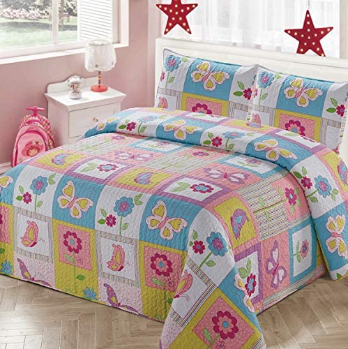 Amazon.com: Luxury Home Collection 2 Piece Twin Size Quilt Coverlet Bedspread Bedding Set for Kids Teens Girls Patchwork Butterfly Flower Pink Yellow White Blue Green Purple (Twin Size): Home & Kitchen