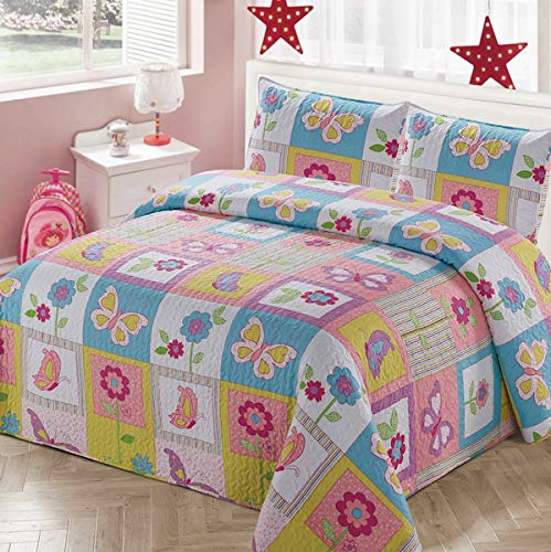 Luxury Home Collection 2 Piece Twin Size Quilt Coverlet Bedspread Bedding Set for Kids Teens Girls Patchwork Butterfly Flower Pink Yellow White Blue Green Purple (Twin Size) (Bedspreads Size Twin Girl Teen)