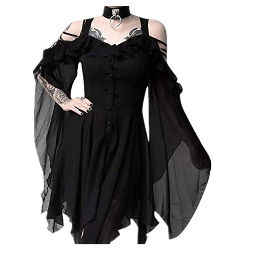 Steampunk Plus Size Clothing & Costumes TWGONE Plus Size Gothic Dresses for Women Special Occasion Dark in Love Ruffle Sleeves Off Shoulder Midi Dress $10.99 AT vintagedancer.com