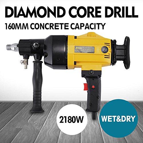 OrangeA Diamond Core Drilling Machine 6 Inch 160 mm Handheld Diamond Core Drill Rig Variable Speed Wet Dry Core Drill Rig for Diamond Concrete Drilling Boring (160mm) (yellow)