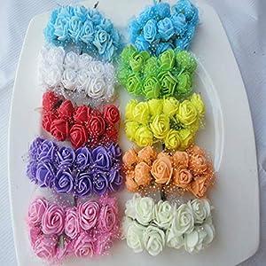BeesClover 144pcs Diameter 2CM Head Multicolor PE Rose Foam Mini Artificial Silk Flowers Bouquet Solid Color Wedding Decoration Wreaths 17