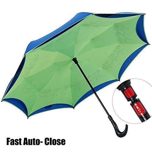 NEWBRELLAs Creative Inside Out Self-standing Auto-close Inverted Car Umbrella (Green)