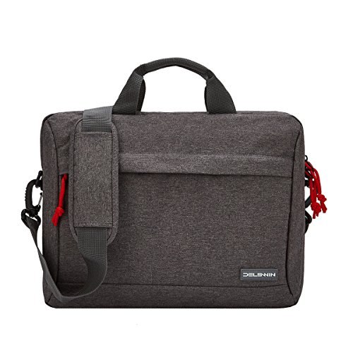 14 Inches Laptop Briefcase Sleeve - Lightweight Laptop Shoulder Messenger Bag Business Carrying Handbag for School/Travel/Women/Men (14.1, Gray) by DELSWIN