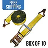 "Shippers Supplies 2"" x 30' Ratchet Strap with Wire Hooks —10 PACK"
