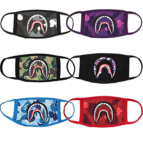 MC TTL 6 Pack Shark Black Purple Red Sky Blue Gray Camouflage Mouth Face Mask Cotton Mouth-Muffle Cotton Fashion Anti-dust Bape Half Face Mouth Mask for Boys and Girls