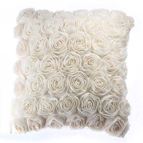 FACILLA® Kissenhülle Kissenbezug Kissenbezüge Sofa Dekokissen 40x40cm Rose Motiv Beige