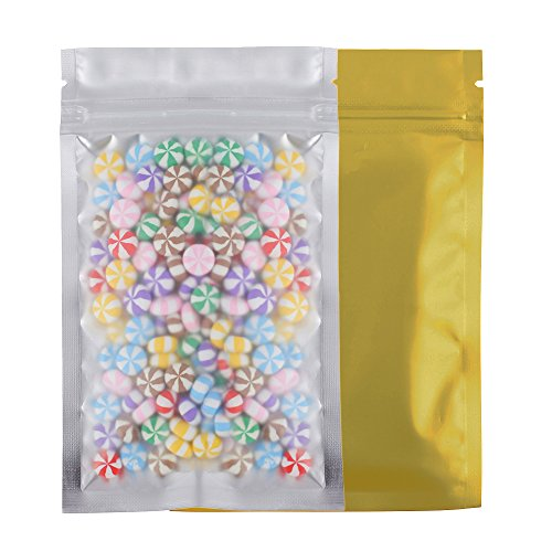 100 Assorted Translucent/Silver/Colored Flat Metallic Foil Mylar Zip Lock Bags Pouch 8.5x13cm (3.3x5.1