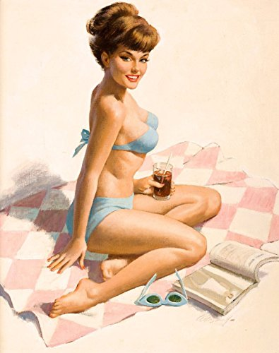 Cheap  Pin-Up Girl Wall Decal Poster Sticker - Pin-Up on Beach Blanket -..