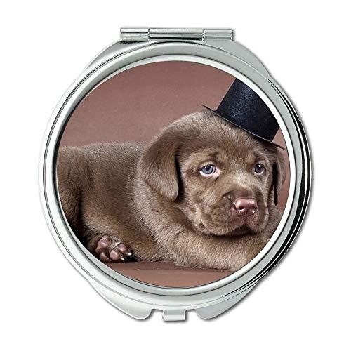 Mirror,Round Mirror,Cute Pug dog labrador dog hd,pocket mirror,1 X 2X -