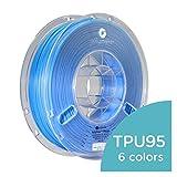 Polymaker PolyFlex TPU95, Flexible TPU Filament for 3D Printer, 2.85mm, 750g, Blue, Dimensional Accuracy +/- 0.05 mm