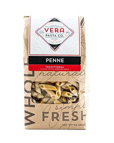 Vera Pasta Traditional Penne Pasta - Gourmet Italian Pasta for Authentic Taste & Texture - Artisan, Fresh Pasta Made in the USA - All Natural, High-Protein Penne Pasta - 1 Pound (Everyday Italian Gift Baskets Giada)