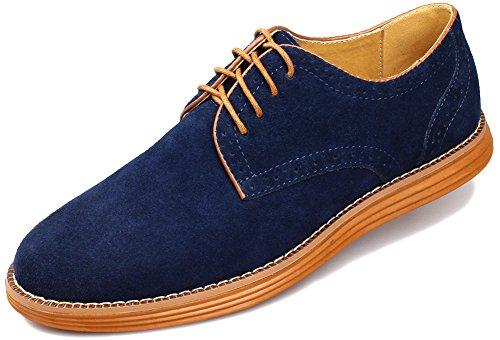Kunsto Men's Nubuck Leather Lace Up Oxford Shoe US Size 8 Blue