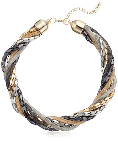 [Steve Madden Tri Tone Braided Torsade Necklace, 18