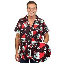 Funky Hawaiian Shirt Men Short-Sleeve Front-Pocket Christmas Santa Hats Black