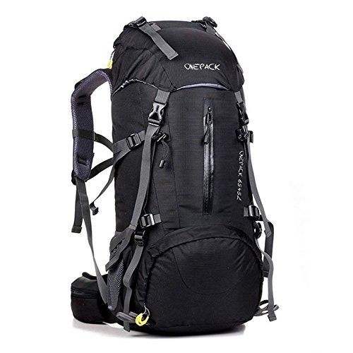 ack,70L(65+5) Waterproof Outdoor Backpacking Bag Daypack for Climbing Mountaineering Camping Travel Cycling Skiing with Rain Cover (70L Black) ()