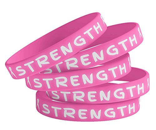Shop4Ever Breast Cancer Support Bracelets Pink Strength Rubber Wristbands - Cancer Breast Wristband