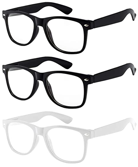 fd1e88cbbc 3 Pairs Classic Vintage Sunglasses 2 BLACK and 1 WHITE Frame Clear lens OWL