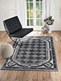 "NEW Summit Elite S68 Grey Harlequin modern abstract Area Rug (4×5 actual is 3′.8""x5′) For Sale"