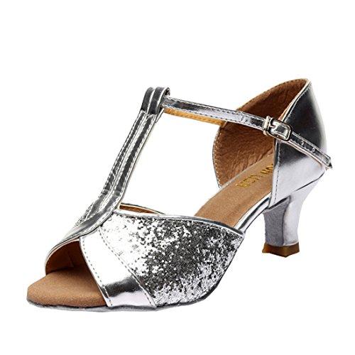 7cm Absatz Latein 5 DorkasDE mit Damen Schuhe Tanz Ballsaal Mädchen Tanzschuhe Tanzschuhe Silber Latein 5cm Absatz x7T7qP4U