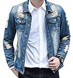 UUYUK Mens Casual Cotton Ripped Hole Long Sleeve Denim Jacket Blue US M