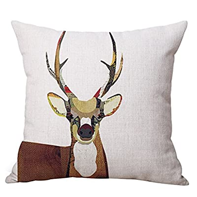 JES&MEDIS Christmas Reindeer Linen Cushion Cover Decorative Pillow Cases for Sofa 18 x 18 Inch