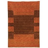 Modern Wool Gabbeh Rug, 6 x 7, Orange & Brown