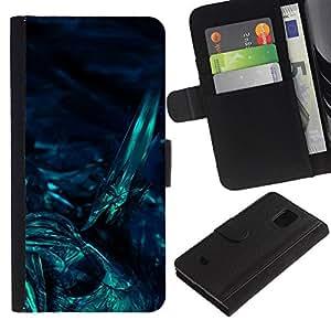 Samsung Galaxy S5 Mini / SM-G800 (Not For S5!!!) Modelo colorido cuero carpeta tirón caso cubierta piel Holster Funda protección - Underwater Dark Art Night Diving