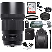 Sigma 135mm f/1.8 DG HSM Art Lens for CANON EF Cameras w/ Sigma USB Dock & 32GB Premium Travel Bundle